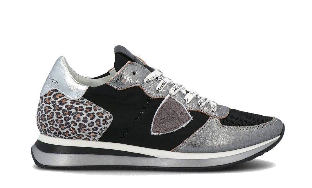 Zapatilla Philippe Model multi plata negro leopardo