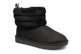 Botin UGG fluff mini quilted negro