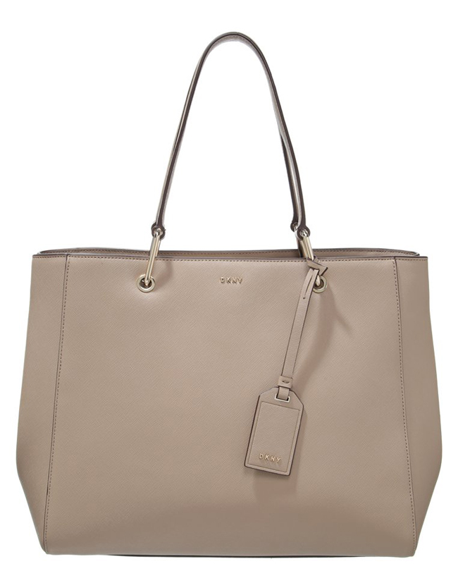 cesto piel saffiano color natural dkny