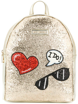 Mochila Love Moschino dorada parches